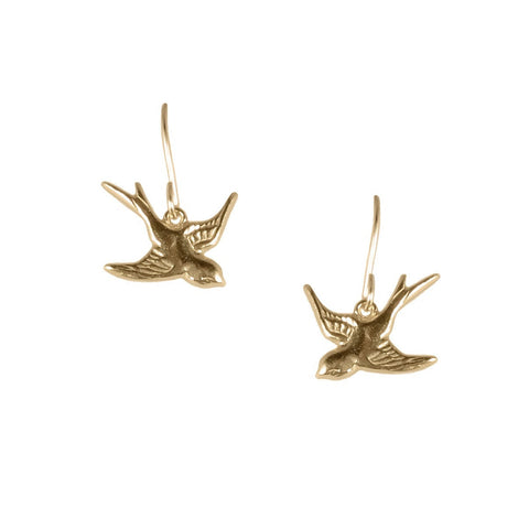 Small Swallow Earrings Gold Vermeil