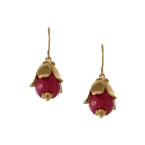 Lily Cap Earring with Ruby Gemstone