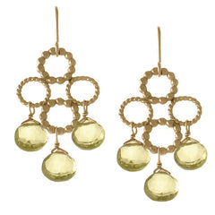 Circle Cross Earrings with Gemstones