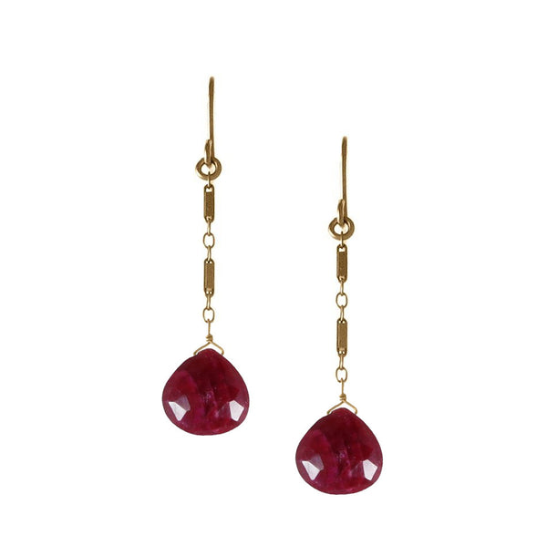 Briolette Drop Earrings with Precious Stones