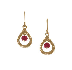 Small Gold Ruby Teardrop Earrings