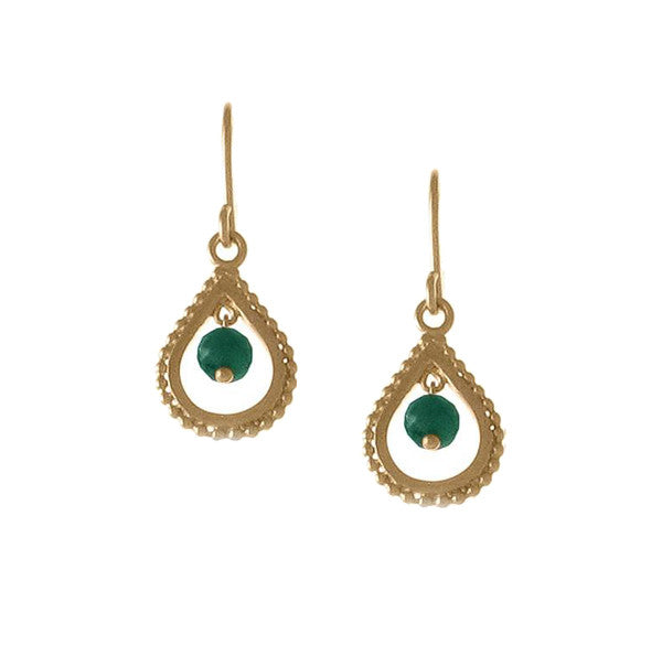 Small Gold Emerald Teardrop Earrings