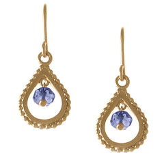 Small Gold Blue Topaz Teardrop Earrings