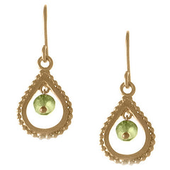 Small Gold Peridot Teardrop Earrings
