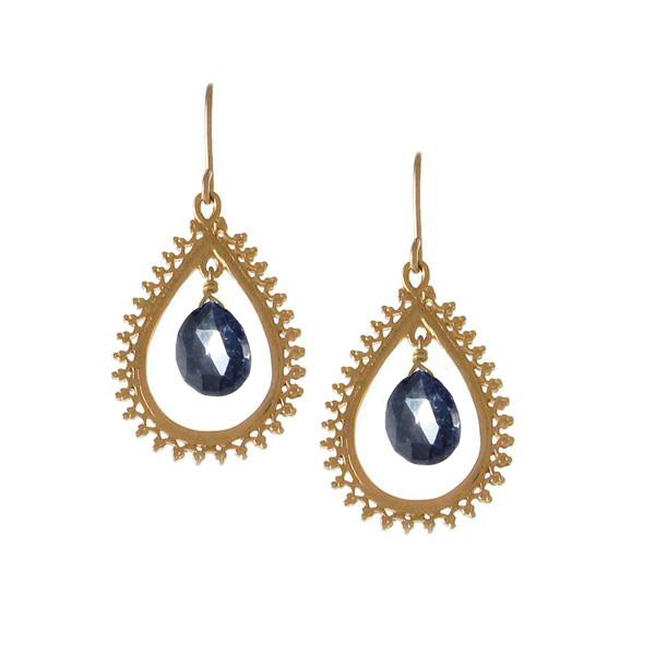 Medium Teardrop Earrings with Precious Stone