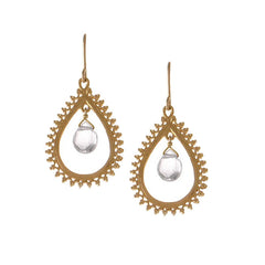 Medium Teardrop Earrings with Gemstone