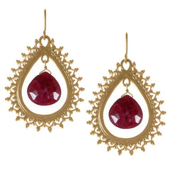 Large Teardrop Earrings with Precious Stone