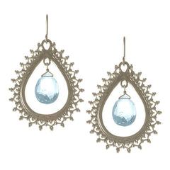 Large Teardrop Earrings with Gemstone