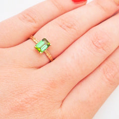 Green Tourmaline Solitaire