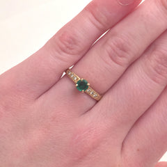 Bead Set Solitaire with Emerald