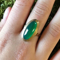 Victorian Era German Green Onyx Ring