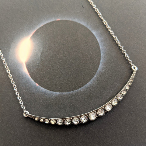 Deco Silver and Crystal Crescent Moon Necklace