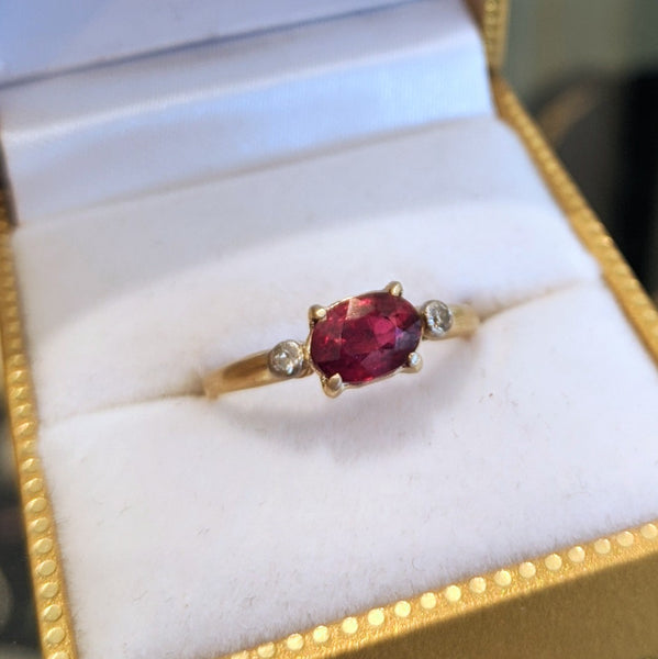 Antique 18k East-West Oval Ruby Ring