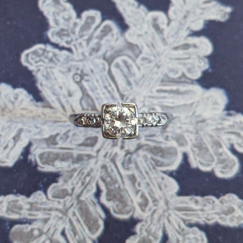 Deco Platinum .50ct Diamond Engagement Ring