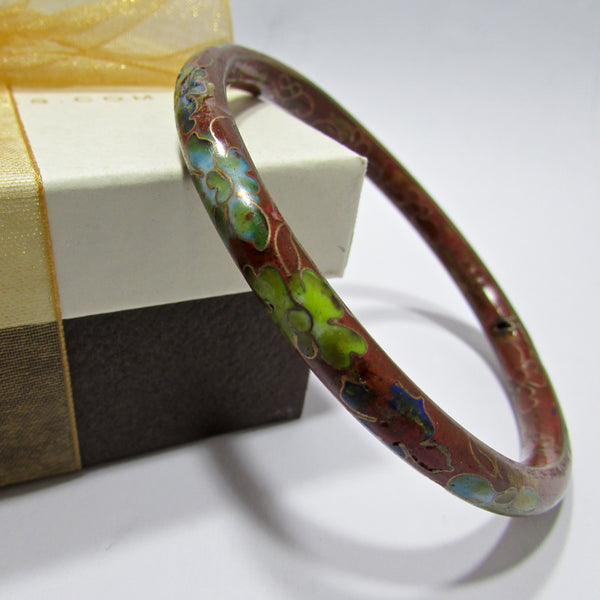Red Cloisonné & Enamel Bangle