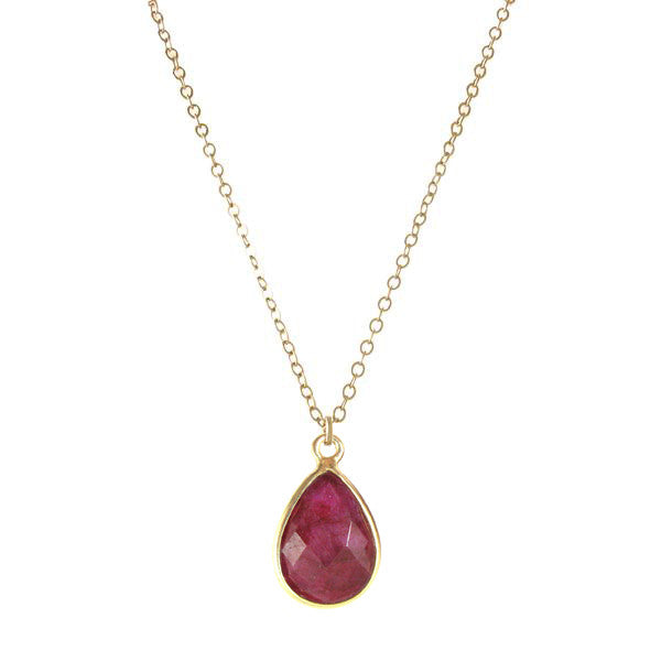 Precious Teardrop Bezel Necklace