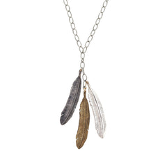 40% Off! Mixed Metal Feather Trio Necklace