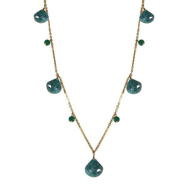 Briolette Drop Necklace with Precious Gemstones