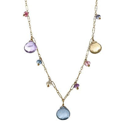 Multi Gemstone Briolette Drop Necklace