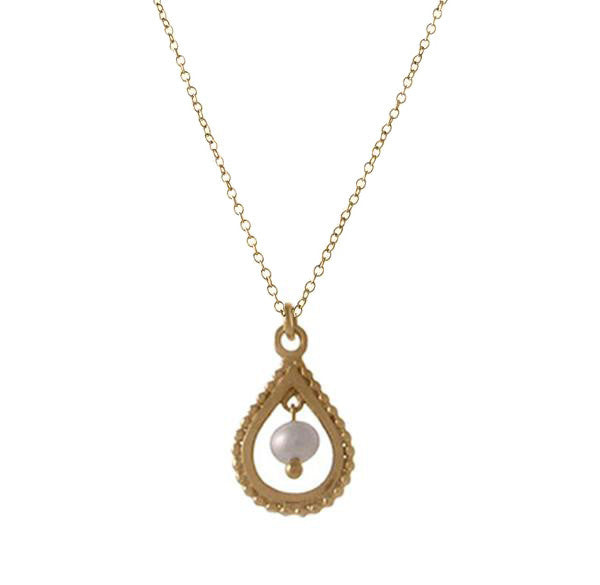 Small Gold Pearl Teardrop Necklace