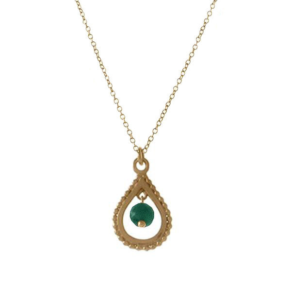 Small Teardrop Pendant with Precious Stone