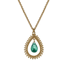 Medium Teardrop Pendant with Gemstone