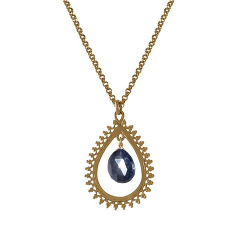 Medium Teardrop Pendant with Precious Stone