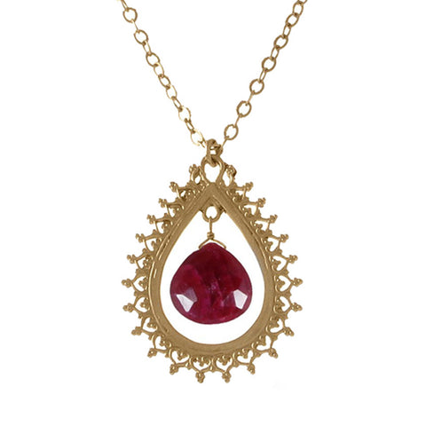 Large Teardrop Pendant with Precious Stone