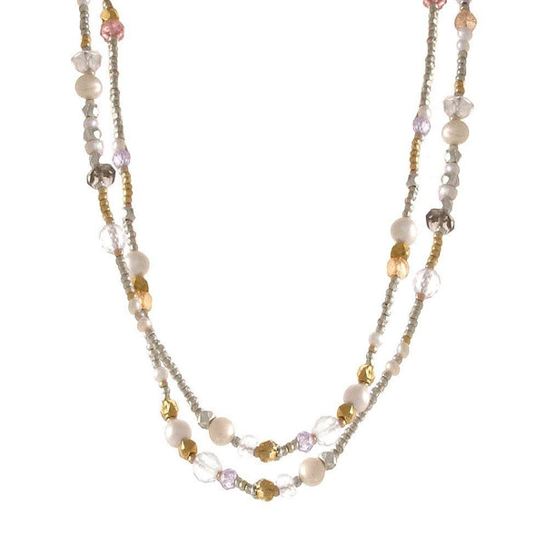 Beaded Necklace with Bundle Pendant
