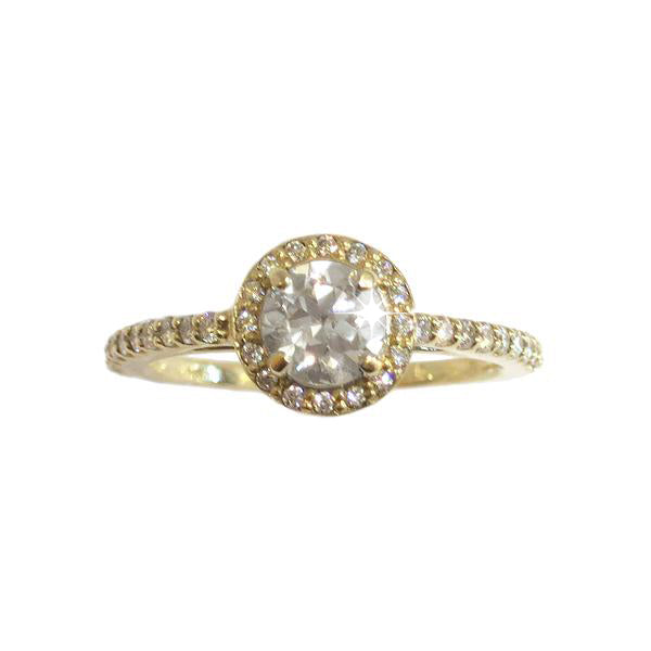 Round Halo Engagement Ring with Diamond Band