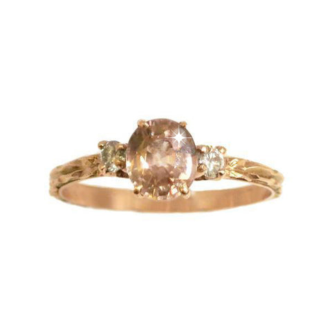Rose Gold Morganite Trio Engagement Ring