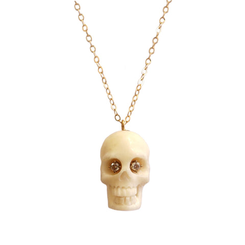 Victorian Skull Pendant with Diamond Eyes