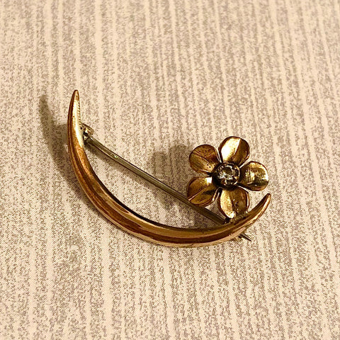 Crescent Moon and Flower Pin