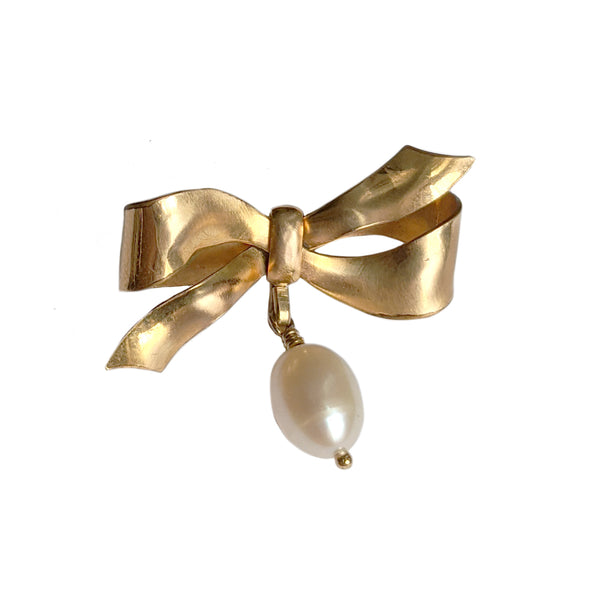 Antique Bow Pin with Pearl Drop