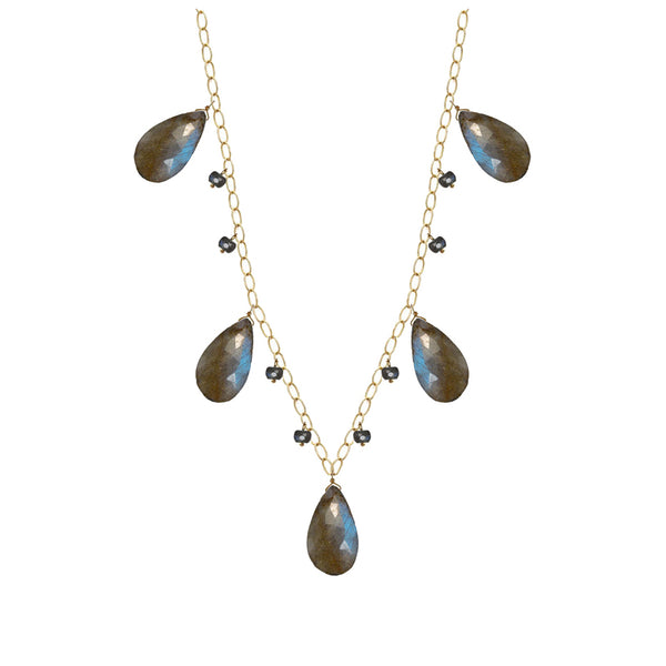 40% Off! Labrodorite Briolette Drop Necklace