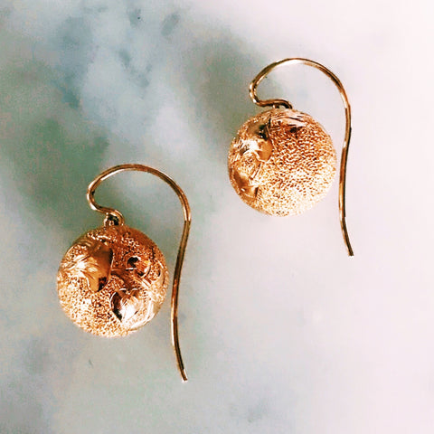 Engraved Victorian Ball Drop Earrings