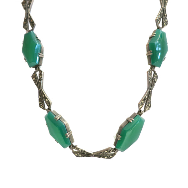 40% Off! Art Deco Chrysoprase Necklace