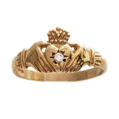 Vintage Diamond Claddagh Ring