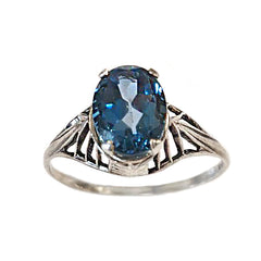 Deco London Blue Topaz Architecture Ring