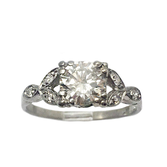 Deco Platinum Illusion Set Diamond Ring