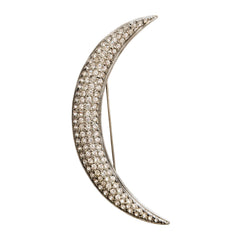 Deco Silver Crescent Moon Pin