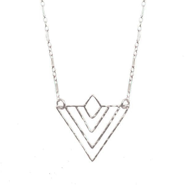 Hammered 'Deco' Triangle Necklace