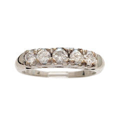 Deco 14k Diamond Top Band