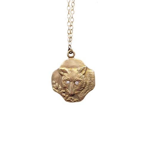 14k Fox Necklace with Diamond Eyes