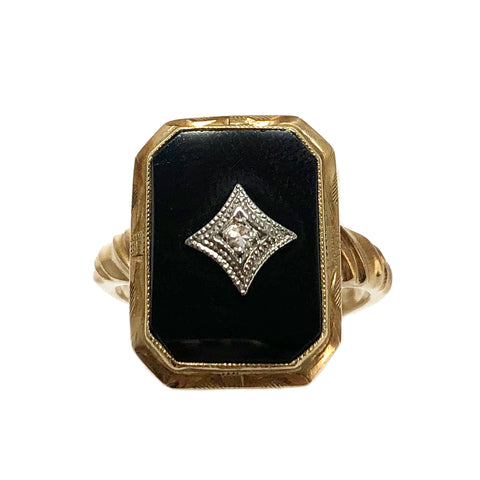 40% OFF! Victorian Onyx and Diamond Signet Ring