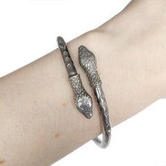 Silver Two Headed Snake Bangle