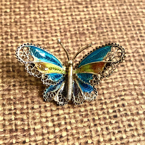 Antique Silver Butterfly Brooch