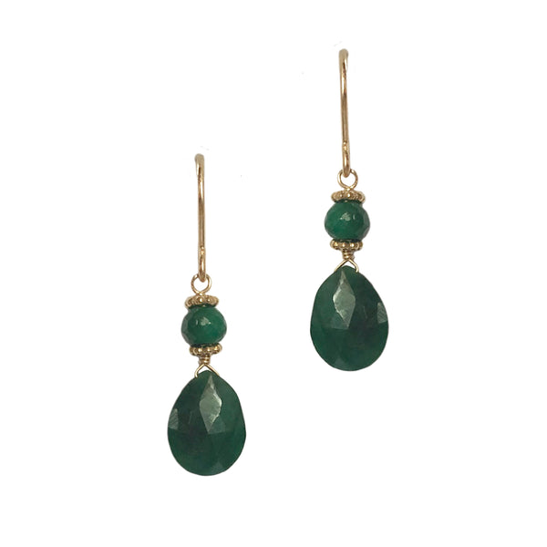 Small Briolette Earrings with Emerald