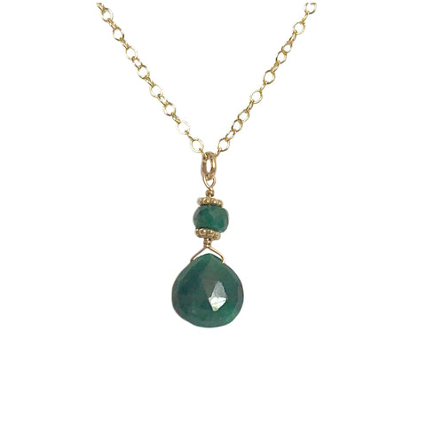 Small Briolette Necklace with Emerald
