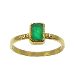 Bezel Set Emerald Ring with Engraving